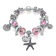 Idea Regalo - Presentski Charm Bracelets Bangles con perline cristallo rosa Tartaruga Starfish Inciso Cuore Stile Tre 18 centimetri
