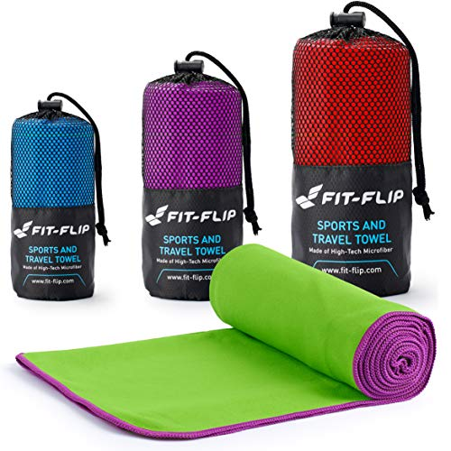Fit-Flip Grün mit lila Rand, 1x 200x100cm | mikrofaser Outdoor mikrofaser grün mikrofaser saunatuch mikrofaser Badetuch Set