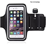 MStick Sports Running Mobile Armband Pouch With Key Earphone Holder For Sports Running, Jogging, Gym, Yoga, Aerobics|Both for Male and Female | Adjustable Free Size -5.5 Inches