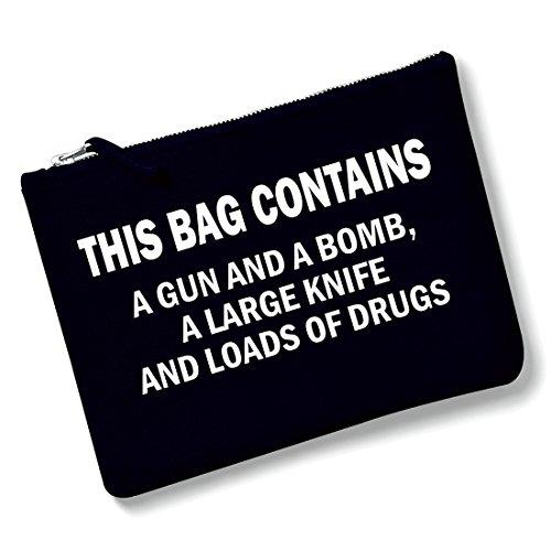 Shirt & Stuff / Kosmetiktasche mit Spruch / verschiedene Sprüche auswählbar /schwarze Handtasche mit Metallreißverschluss / Clutch / Waschtasche / Make-up Bag / Schminktasche / this bag contains (Make-up Handtasche)