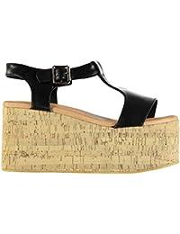 e82ce855 Jeffrey Campbell Mujer Weekend Plataforma Wedge Punta Abierta Zapatos  Hebilla