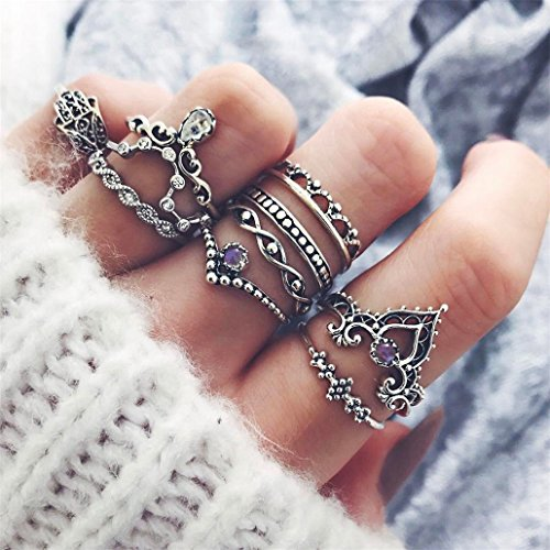 Chinget 10 Stück Damen Knuckle Ring Set Böhmische Vintage Charm Beach Hollow Geometrische Diamanten Fatima Hand Ringe Damen Schmuck Zubehör Geschenke, Silber Farbe