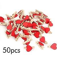 Ogquaton Mini Clips Clip de Madera en Forma de corazón Creativo Clavijas para Fotos Clip de Cola Larga para secar la Ropa Que adorna el Uso 50 pzas Rojo