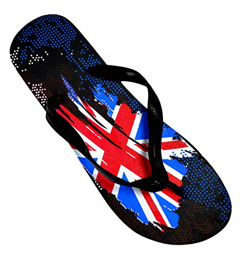 Octave® da uomo estate spiaggia infradito collezione vari stili e colori Union Jack Urban Paint Design - Black Scarpa da uomo taglia: UK 11/12 - EURO 46/47