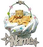 Windeltorte personalisiert mit Namen Babygeschenke Set Bärchen Korb I Nachtlicht für Baby Mädchen Junge