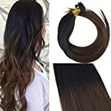Sunny Ombre Negro Natural a Marron Oscuro #1b/4 Hair Individuales Nano Rings 60cm Brazilian Extensiones Cabello Natural Easy Loops 50g