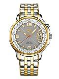 Armbanduhr Herren Funk Solar Uhr bicolor Edelstahl Gold Silber analog klassisches Design by MeisterAnker