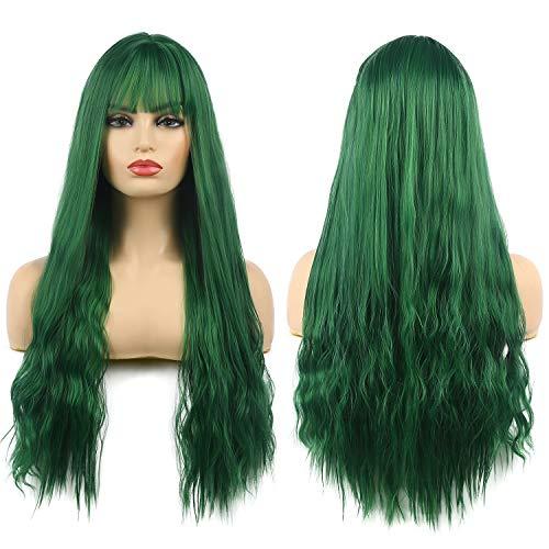 Pelucas Verdes Peluca Larga Ondulada Mujer Peluca