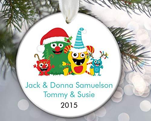 prz0vprz0V Personalized Christmas Ornament Monster Family of 4Four Monsters Ornament Custom Ornament Porcelain Ceramic Ornaments