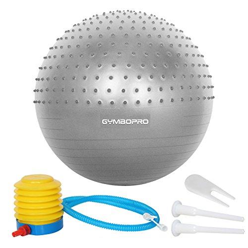 Ballon de gymnastique,GYMBOPRO Balle de fitness,Ballon d'exercice avec pompe rapide, anti-éclatement et anti-dérapant Yoga Ball (Argent, 65 cm)