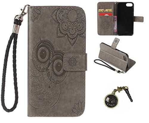 Preisvergleich Produktbild iphone7 (4.7 Zoll) Wallet Case für Apple iPhone 7 Flip Hülle Laoke Eule Blumen Muster Handyhülle Schutzhülle PU Leder Case Skin Brieftasche Ledertasche Tasche im Bookstyle in +Staubstecker (11)