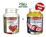 Simply Supplements Pomegranate 10,000mg 240 Tablets + FREE GIFT Omega 3 6 & 9 30 Capsules