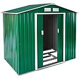 TecTake Abri de jardin en métal cabane à outils rangement verte toit en selle + fondation | 214x130x185cm