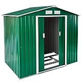 TecTake Box casetta metallo per giardino serra per attrezzi capannone tetto | + fondazione | disponibile in diversi colori e modelli (Tipo 1 | verde | no. 402182)