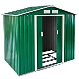 TecTake Metall Gerätehaus Gartenhaus Satteldach | Metall-Fundament | Diverse Farben und Modelle (Typ 1 | Grün | Nr. 402182)