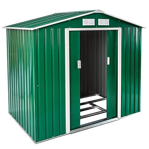 Galleria fotografica TecTake Box casetta metallo per giardino serra per attrezzi capannone tetto | + fondazione | disponibile in diversi colori e modelli (Tipo 1 | verde | no. 402182)