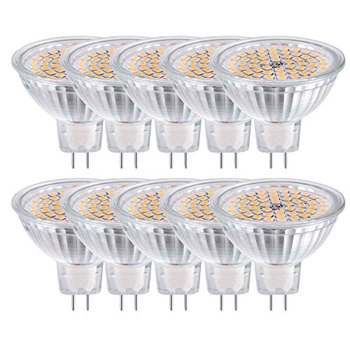 GVOREE MR16 Ampoules LED Spot,AC DC12 Volts, 5W 400lm, 50W Ampoules Halogènes Equivalentes, 2700K Blanches Chaudes, Ampoules LED MR16 GU5.3, 120 °Angle d'éclairage, Non-Dimmable, Lot de 10