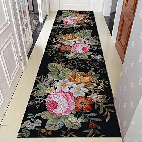 Alfombras de Pasillo Negro Runner en patrón de Flores 3D para la Entrada Delantera...