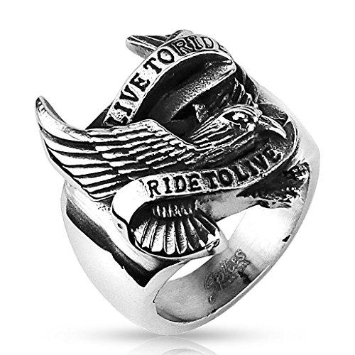 Siegelring Edelstahl silberfarben – Ring für Herren Totenkopf mit Adler – Schmuck für Herren Männer Biker Rocker, erhältlich in 4 Größen 59 (18.8), 62 (19.7), 64 (20.4),68 (21.6). (Prime Freimaurer Ringe)