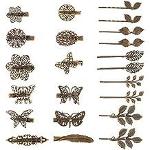 22 Piezas de Clips de Pelo Vintage Pinza de Pelo en Forma de Hoja Bronce  Clip 06df97f9c821