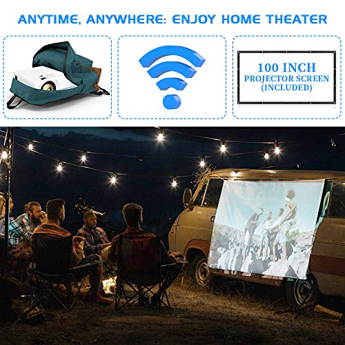 Wifi Projector, Projector 6000 Lumen With Projector Screen, 1080P Full HD Supported Wireless Projector, Mini Video…