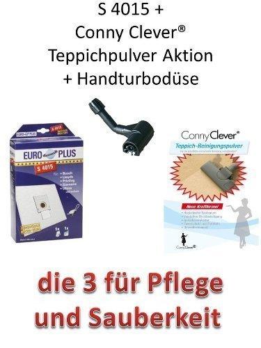 BoschSiemens S 4015 Staubsaugerbeutel + Conny Clever® Teppich Feucht-Pulver,Teppichreinigungspulver + Handturbodüse
