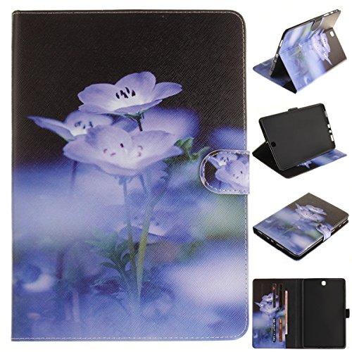 Forhouse Hülle Samsung Galaxy Tab A 9.7 SM-T550, PU Ledertasche Flip Magnet Etui Mit Standfunktion Ultra Schlanke stoßfest Schutzhülle für Samsung Galaxy Tab A 9.7 SM-T550 (Blue Flower)