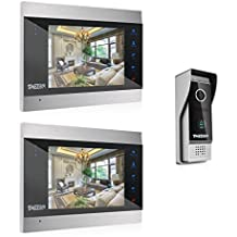 TMEZON 7 Zoll Farb-LCD-Touch-Taste Video Türsprechanlage Türklingel Gegensprechanlage Kit 2-Monitor 1-Kamera Nachtsicht, Unterstützung Aufnahme / Schnappschuss