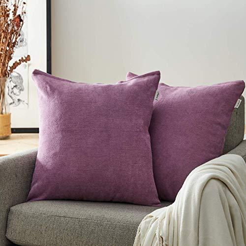 Topfinel Packung mit 2 Leinen Baumwolle Einfarbig Kissen Kissenbezüge Dekorative Kissenhülle Kopfkissen für Sofa 60cmX60cm Lila -