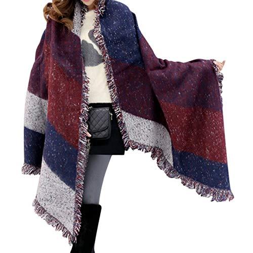 nuovo di zecca 9dd8a 1f59b UMIPUBO Donna Tassel Sciarpa Inverno Signore Sciarpa Di Grandi Cachemire  Lattice Grande Sciarpa (rosso)