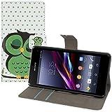 kwmobile Hülle für Sony Xperia Z1 Compact - Wallet Case Handy Schutzhülle Kunstleder - Handycover Klapphülle mit Kartenfach und Ständer Eule Schlaf Design Grün Schwarz Weiß