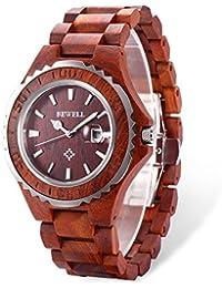 Bewell ZS-100BG Madera Puramente Reloj Analógico de Cuarzo para Hombre con Banda Ajustable (Red Sandalwood)