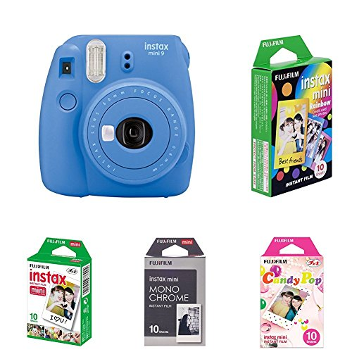 Fujifilm Instax Mini 9 Kamera, kobalt blau mit Film Box