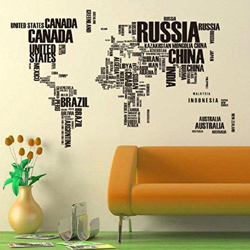 Yang Wall Sticker Children's Bedroom World Map Design with Animals C