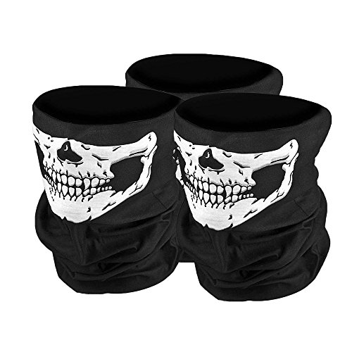 (Sijueam 3er set Multifunktionen Bandana Maske Schädel Halstuch Skelett Half Face Mask Winddichte Neckerchief Headscarf für Outdoor Aktivitäten Radfahren Skifahren One Size Fits All)