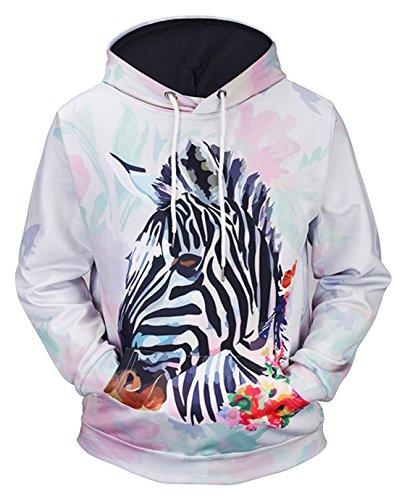 Pizoff Unisex Hip Hop Sweatshirts druck Kapuzenpullover mit Farbkleks 3D Digital Print zebra (Pullover Zebra Print)