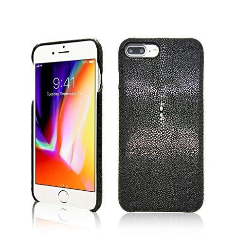 I-idea Luxus Schutzhülle für iPhone 7Plus/8Plus Hand aus Echtem Stachelrochen Fish Haut Superior Qualität Bumper Hülle für Apple iPhone 7Plus/8Plus (Stachelrochen Edition-Schwarz) - Herren Echte Stingray