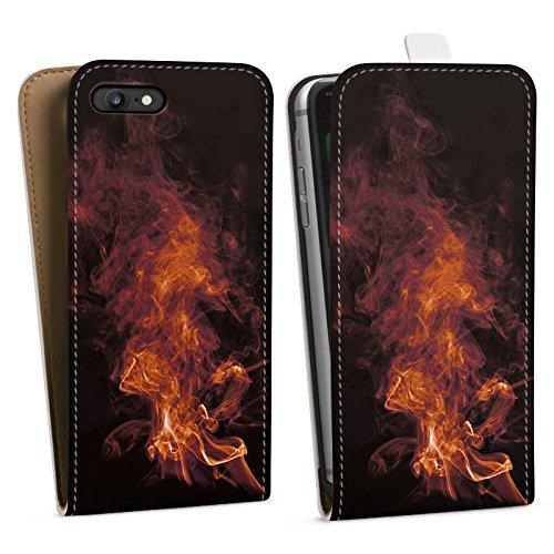 Apple iPhone X Silikon Hülle Case Schutzhülle Flamme Rauch Feuer Downflip Tasche weiß