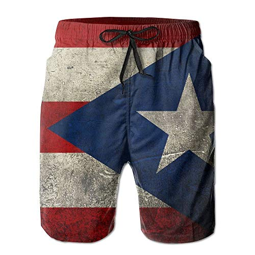 2127e9ac83 Bag hat Mens Retro Puerto Rican Flag Quick-Drying Summer Swim Trunks Beach  Shorts Pant