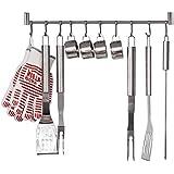 HOMFA Gancho de Cocina 10 Ganchos Deslizante Barra de acero inoxidable Estante de utensilios de cocina
