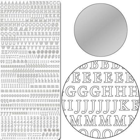 Aufkleber 10x23cm x10 silber Buchstaben/Zahlen -