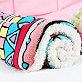 #8: Winter Lovely Pet Cushion dog Mat Warm Star Print Puppy Fleece Mattress small dogs Blanket Bed Cat Pad 50*32cm geometry 50X32cm