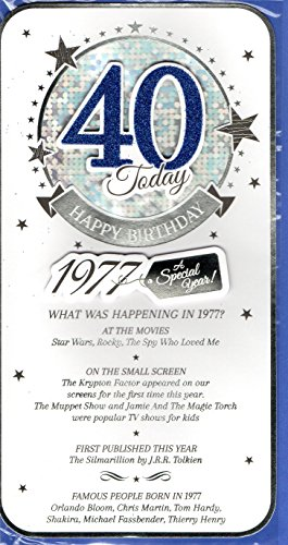 Blue Male 40th Birthday Card - 1977 Was A Very Special Year - 2017 Year Card