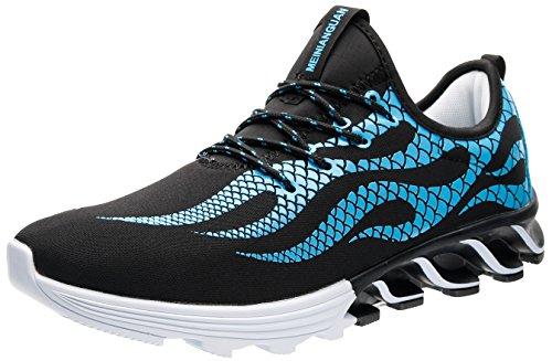 JOOMRA Herren Indoor und Outdoor Fitness Turnschuhe Freizeit Mode Sneaker Das Training auf der Straße Laufschuh für zu Fuß auf der Straße Sportschuhe Männer Blau, Schwarz, Weiß 41 EU