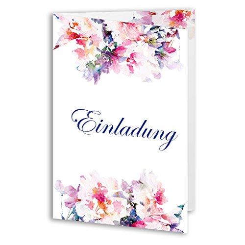 (20 x) Einladungskarten Geburtstag Blumen Aquarell Edel Klappkarte Einladungen