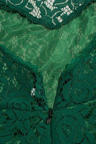 Babyonlinedress Sexy Elegant Robe de Soirée Cérémonie Elastique avec Ceinture sans Manche Longue en Dentelle Vert