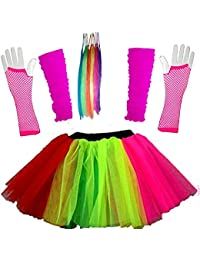 Just For Fun Girls Multicoloured Tutu Skirt Set With Leg Warmers Gloves & Hair Extensions - Age 4 To 12 Years