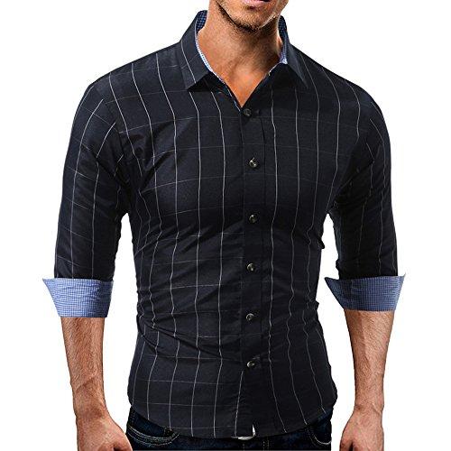JYJM Herren Slim Langarm-Shirt Herren Casual Fine Button Shirt Herren Charm Show Body Shirt Herren...