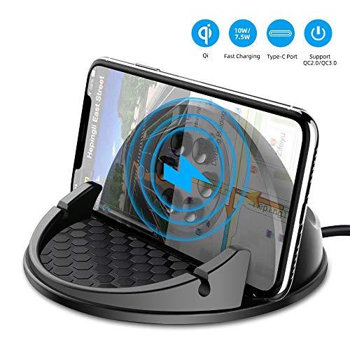 Beeasy Wireless Charger Auto,10W/7.5W Qi Induktive Ladestation Fast Charge Handyhalter fürs Auto kfz Kabelloses Ladegerät Kompatibel mit Smartphone iPhone XS Max XR X 8 Plus,Samsung S10 Plus S9 S8