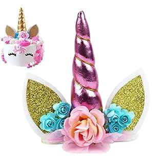Unicorn Cake Topper, Unicorn Happy Birthday Twinkle DIY Glitter First Birthday Cupcake Topper Cake Smash Candle Alternative Party Handmade, Aixin (Unicorn Cake Topper-Pink)